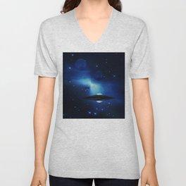 UFO galaxy Unisex V-Neck