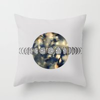 moon phases Throw Pillows featuring Moon Phases by amyrose