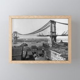 Manhattan Bridge Construction - Vintage New York Framed Mini Art Print