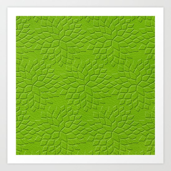 Leather Look Petal Pattern - Greenery Color Art Print