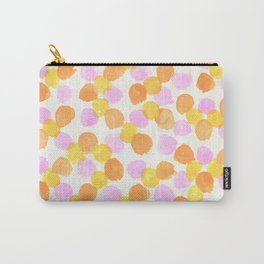 Pink Orange & Yellow Watercolor Dots Carry-All Pouch