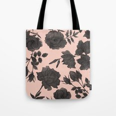 Black and Peach Flowers Pattern Tote Bag