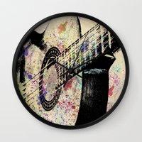 guitar Wall Clocks featuring Guitar by Del Vecchio Art by Aureo Del Vecchio