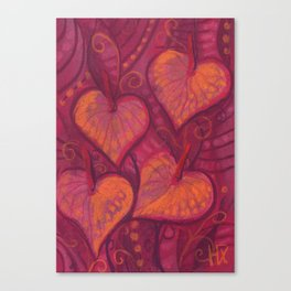 Hearty Flowers / Anthurium, pink, red & orange Canvas Print