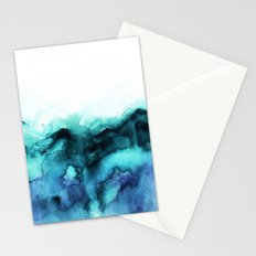 Abstract teal purple watercolor Stationery Cards