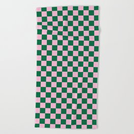 Cotton Candy Pink and Cadmium Green Checkerboard Beach Towel