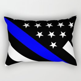Police Flag: The Thin Blue Line Rectangular Pillow