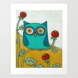 Turquoise Owl and Poppies Art Print