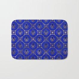 Fleur-de-lis pattern - Lapis Lazuli and Gold Bath Mat