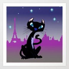 Parisian Cat at Night  Art Print