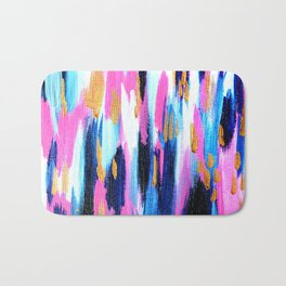 Spring Golden - Pink and Navy Abstract Bath Mat