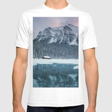 Sunset at Lake Louise White MEDIUM Mens Fitted Tee