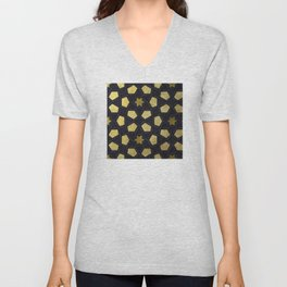 Contemporary Geometric Pattern Accented By Gold Stars Unisex V-Neck