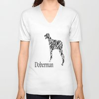 doberman V-neck T-shirts featuring Doberman Scribble by Jake Stanton