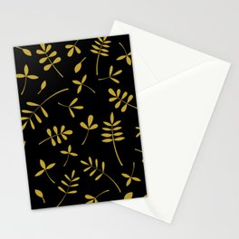 Gold Leaves Design on Black Stationery Cards