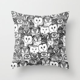 just owls black white Throw Pillow