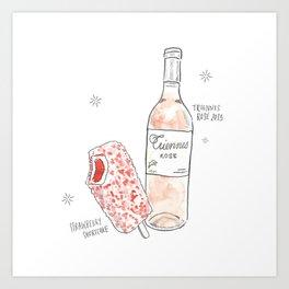 Strawberry Shortcake + Rosé Art Print