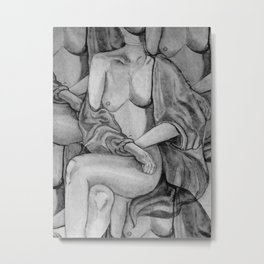 Lady Unknown in grey Metal Print