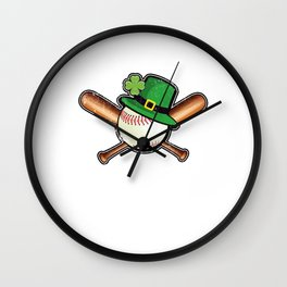 Baseball St. Patrick's Day Leprechaun hat Wall Clock