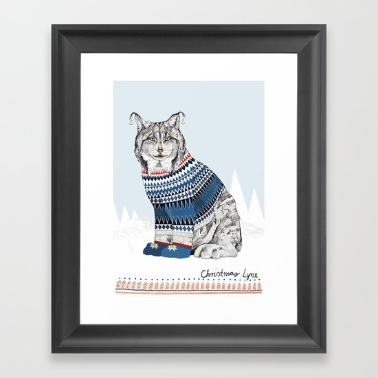 Christmas Lynx // Festive Furries No.1 Framed Art Print