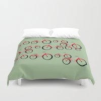 bikes Duvet Covers featuring Bikes  by David Michael Schmidt