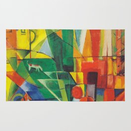 """Franz Marc """"Landscape with House and Two Cows (also known as Landscape with House, Dog and Cattle)"""" Rug"""