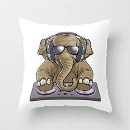 Elephant Dj Music Throw Pillow