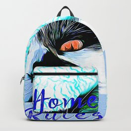 cat my home my rules vector art blue Backpack