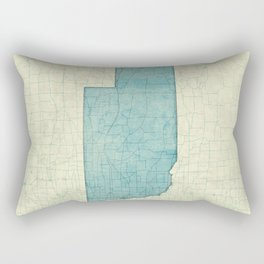 Nebraska State Map Blue Vintage Rectangular Pillow