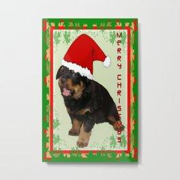 Cute Merry Christmas Puppy In Santa Hat Metal Print