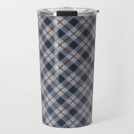 Tartan blue brown , black Travel Mug