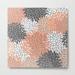 Floral Pattern, Coral, Gray, White Metal Print