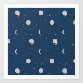 Rocket to the Moon and Stars Art Print
