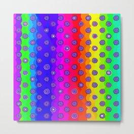 Rainbow and purple flowers Metal Print