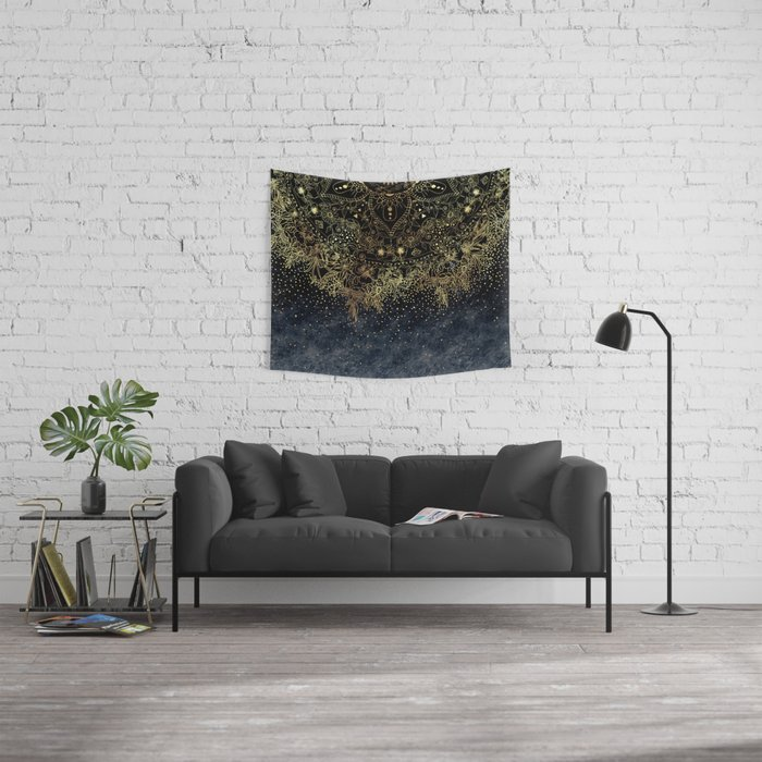 Stylish Gold floral mandala and confetti Wall Tapestry