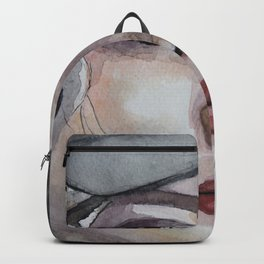 Watercolor portrait blonde girl Backpack