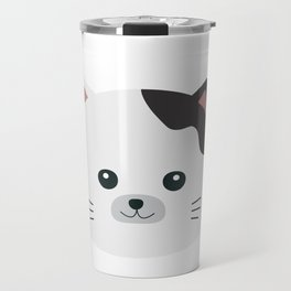 White Cat with spotted fur Travel Mug