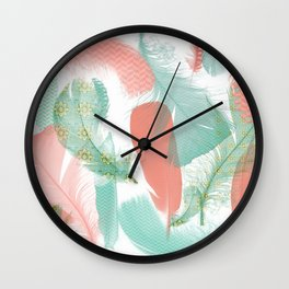 Peach and Turquoise Feathers Wall Clock