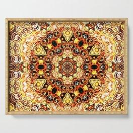 sun mandala abstract geometric digital art Serving Tray