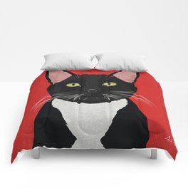Tuxedo Cat Design in Bold Colors for Pet Lovers Comforters