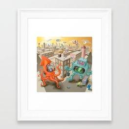 Squid vs Robot Framed Art Print