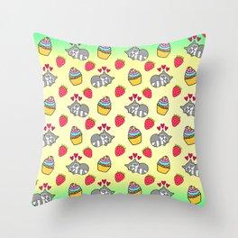 Cute happy sleeping dreaming Kawaii baby raccoon, sweet red summer strawberries and colorful rainbow yummy cupcakes sunny bright yellow design. Nursery decor. Throw Pillow