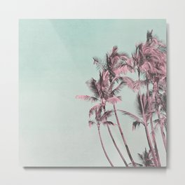 Tropical Palm Trees In Surreal Pink Metal Print