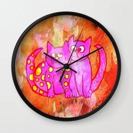 Watercolour Love Cats Wall Clock
