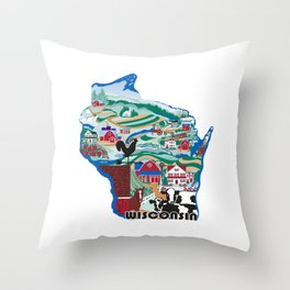 Wisconsin Country Sampler Throw Pillow