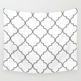 Quatrefoil - Gray and White Wall Tapestry