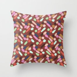 Dancing Shapes Pattern Multicolored Red Throw Pillow