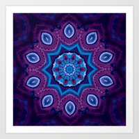 Purple and Blue Abstract Mandala Art Print