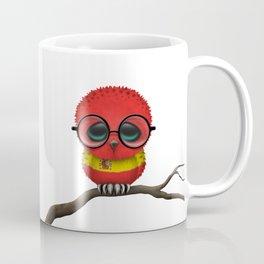 Baby Owl with Glasses and Spanish Flag Coffee Mug