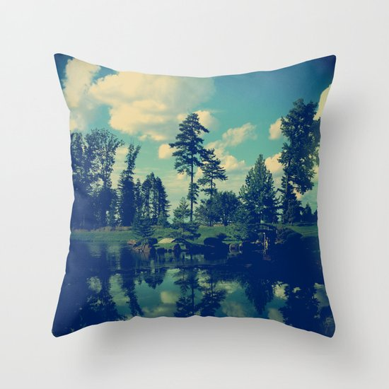 Yesterday Evening at the Lake Throw Pillow